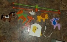 Vintage Irmi Hand Painted Wood Baby Crib Mobile Safari missing parts