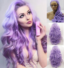 Women's Long Purple Wig Wavy Lace Front Wig Synthetic Hair Heat Resistant Hair