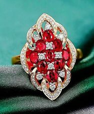 Charming 18K Rose Gold Plated on silver Ruby & CZ Cluster Royal Style Ring