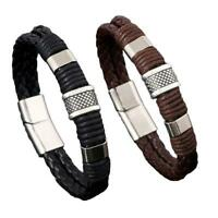 Mens Leather Braided Wristband Bracelet Stainless Steel titanium Clasp 2019