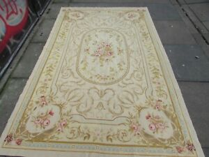 Vintag Hand Made Traditional French Design Wool Beige Needlepoint Rug 232X144cm