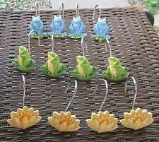 BLUE & GREEN FROGS & YELLOW LILLY PADS SHOWER CURTAIN HOOKS SET OF 12