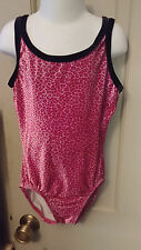 Adult X Small Pink Leopard Print Crushed Velvet Gymnastic Dance Leotard