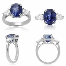 Platinum Sapphire Ring with Pear Shape Diamonds on Side GIA Certified
