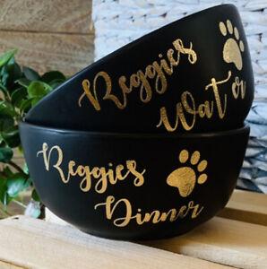 Mrs Hinch Inspired Personalised Black Ceramic 14cm Pet Dog Cat Bowl