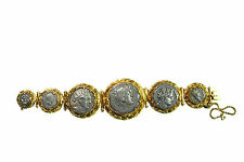 Georgian 18K Yellow Gold Ancient Roman Silver Coin Bracelet Antique Empire