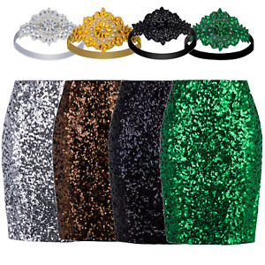 Women Sequin High Waisted Split Bodycon Midi Pencil Stretch Skirt Evening Party