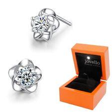 Zirkonia Blumen Ohrstecker aus 925 Silber Sterlingsilber + Luxus LED Schmuckbox