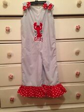 Born To Be Sassy Girls Size 3T 4T Monogram GRAY beach Lobster Ruffle Boutique