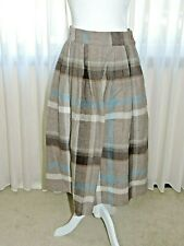 Vintage Robyn Wool Blend Plaid Skirt Size 10 Made In Usa Brown/Blue/Beige