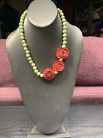 """Vintage Bohemian Green Beaded Unusual  Rose Accented  statement Necklace 18"""""""