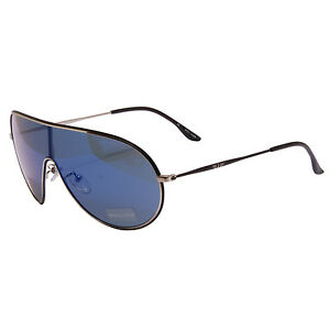 Police - Silver and Black Visor Style Sunglasses with Case and Box