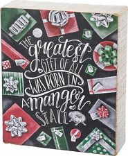 """THE GREATEST GIFT OF ALL Christmas Wooden Box Sign, 5"""" x 6"""", Primitives by Kathy"""