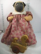 Jan Shackelford Ooak Soft Sculpture Janimals Petagree Pup Pug Girl Dog Doll #778