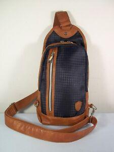 Mens Bigi Sling Single Strap Crossbody Body Chest Bag / Shadow Staggered Pattern
