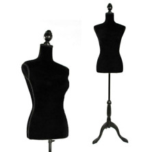 Female Mannequin Torso Dress Clothing Form Display Black Tripod Stand Coat Model