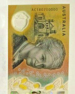 AUSTRALIA 2018 $50.00 SPECTACULAR SERIAL almost SPECIMEN  AC18 0700000 UNC