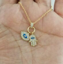 14K Yellow Gold Blue Evil Eye Hamsa Hand Charm Pendant Chain Necklace