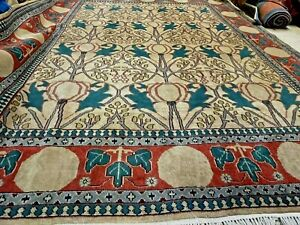 Auth:  70's Arts and Crafts Rug Velvety Wool Architectural Voisey Beauty 8x10 NR