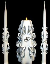 SILVER HEARTS Wedding Unity Candles Set - PERSONALIZED!