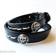 Vintage style Urban Biker Skulls on Double Wrap Black Leather Bracelet
