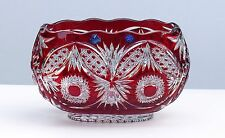 Huge Crystal BOWL Boat shape, L32 cm RUBY RED Cut to clear Overlay RUSSIA New