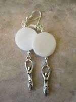 Wicca Triple Moon Goddess Natural Shell on .925 Wires Artisan Earrings-Pagan