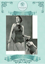 Vintage Crochet Pattern-1930s ladies elegant swimsuit,swimming costume, to make