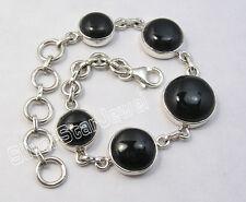 "925 Sterling Silver CABOCHON ROUND BLACK ONYX HANDMADE Heavy Bracelet 8"""