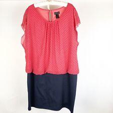 EnFocus Studio Dress 20W Blue Red Plus Size Blouson Attached Ponte Skirt