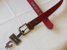 Mens NEW Tommy Hilfiger red brown canvas & leather belt 42 42/105 08-496-97 LOGO