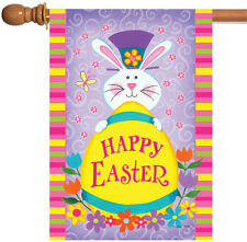 New Toland - Top Hat Bunny - Cute Colorful Happy Easter Rabbit House Flag