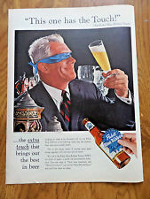 1956 Pabst Blue Ribbon Beer Ad  The Blindfold Taste Test This one Has the touch