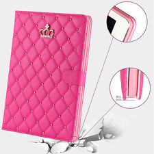 Luxury Crown Slim Smart Wake Leather Case Cover For iPad Air5/6 (Rose Red)