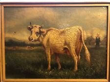 Listed French artist Emil Van Marcke de Lummen  animalia cow oil painting