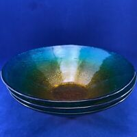 ACKAM TURKEY GLASS SERVING/SALAD BOWLS TEAL/AMBER OMBRE SET OF 3 LARGE 8 3/4""