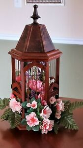 Bird Cage wood wire and flowers vintage