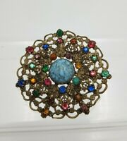 Vintage Art Deco Czech Faux Turquoise & colourful Rhinestones Filigree Brooch