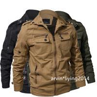 Men's Cotton Military Jackets Casual Outdoor Coat Windbreaker Jacket XS-XXL
