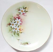 Antique VTG Signed Bavaria Hand Painted Yellow Green White Daffodil Flower Plate