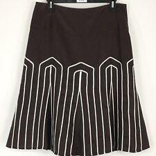 Worthington Womens Skirt Size 10 Brown Flare White Trim Embellished Lined B85