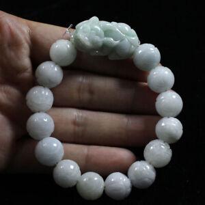 "Certified Natural ""A'' Green Jadeite Jade Carving Beads Bracelet Pixiu 貔貅 Z3270"