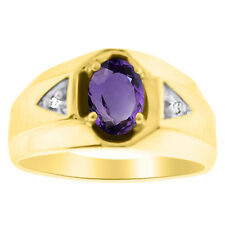 Amethyst & Diamond Ring 14K Yellow Gold