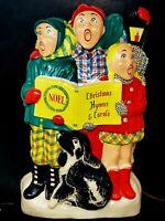 Vtg. LA Goodman Molded Plastic Christmas Flat Back Lighted Noel Carolers And Dog