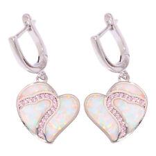 Party Women Jewelry Drop Earrings Oh4293 Heart White Fire Opal Pink Topaz Silver