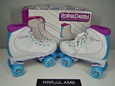 ROLLER DERBY Star 600 White/Blue/Purple Quad ROLLER SKATES Womens Sz 8 NEW NIB