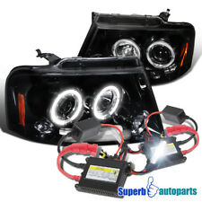 For 2004-2008 Ford F150 LED Halo Projector Headlights Glossy Black+H1 Slim HID