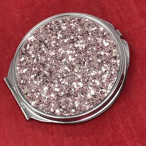 """Travel Compact 3"""" Makeup 2 Mirror Folding Cosmetic Round BLING"""