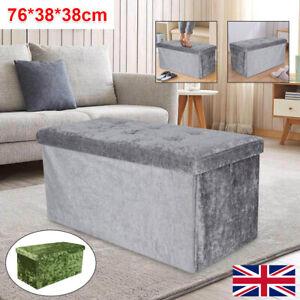 Bedroom 2 Seater Folding Storage Ottoman Seat Toy Storage Box Crushed Velvet UK