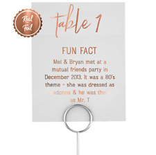 Copper Foil Table Numbers / Wedding Fun facts personalised table decor signs